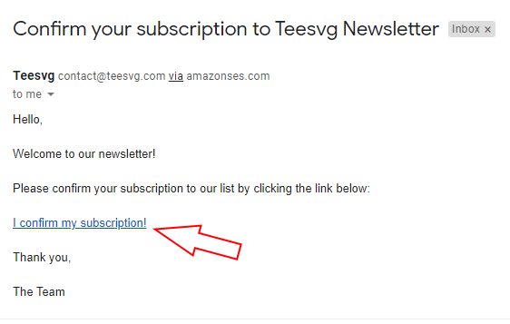email confirme newsletter subscription - teesvg.com