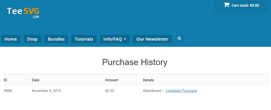 puchase history - teesvg.com