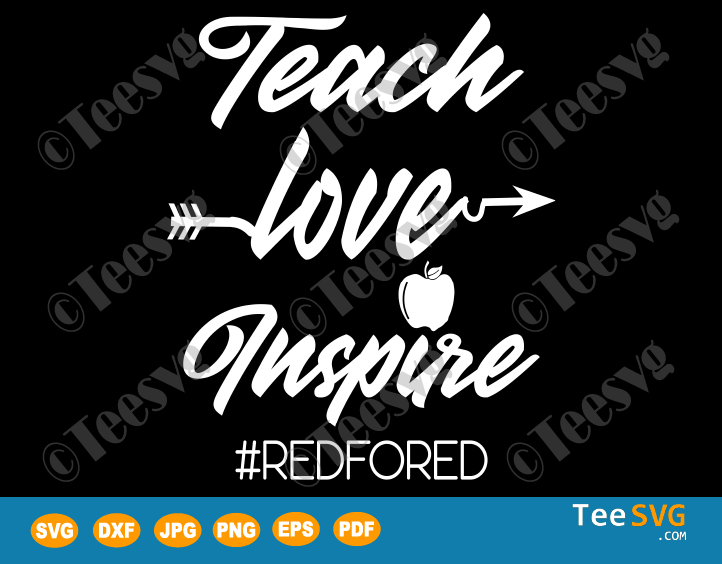 Teach Love Inspire SVG Apple Red For Ed Shirts
