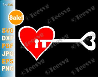 Heart Key Drawing Romantic Valentines Day SVG - You're The Key Of My Heart