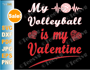 Valentines Day Volleyball SVG Cut Files
