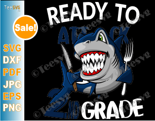 Ready To Attack 2ND Grade Back to School Sharks Boys SVG Files