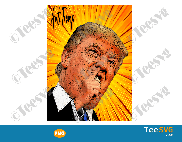 Trump Caricature PNG Free Anti Trump Pop Art Funny Meme Design Gifts