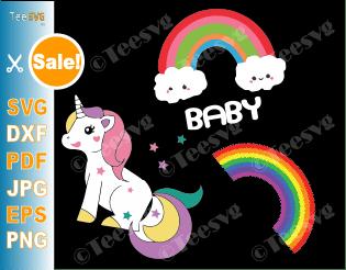 Rainbow SVG Bundle Rainbow Baby SVG with Clouds Rainbow Unicorn SVG PNG Clipart craft