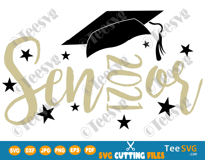 Senior 2021 SVG Cut File Graduation Cap Design Gift