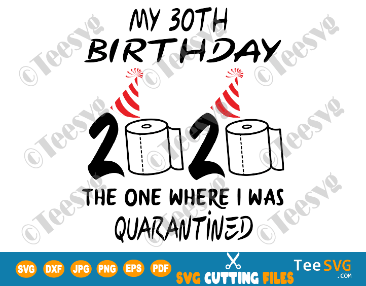 30th Birthday Quarantine SVG files The One Where I Was Quarantined 2020 My Thirty Shirt For women men