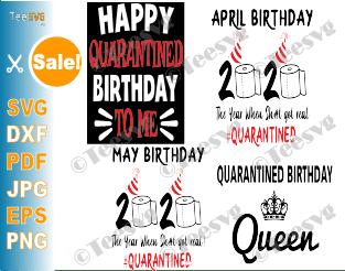 Quarantined Birthday SVG Bundle Quarantine Social Distancing Shirt Gift 2020