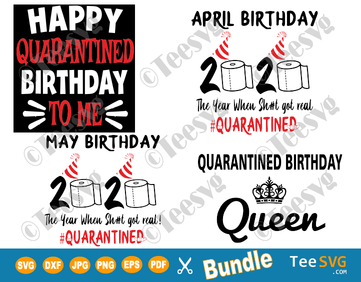 Quarantined Birthday SVG Bundle Quarantine Social Distancing Shirt Gift 2020