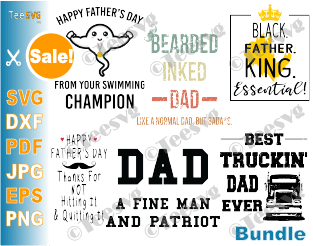 Fathers Day Bundle SVG PNG Dad Life Quotes Sayings Cut File Funny Shirt Gift