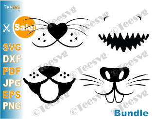 Funny Face Mask SVG Cut File Pattern Bundle Animal Dog Face Shark Smile Bunny Mouth Cat Whisker design facemask cricut PNG download