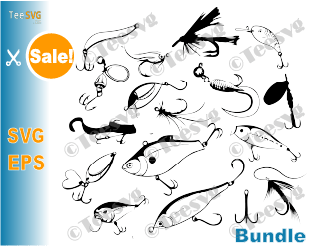 Fishing Lure SVG Bundle Fishing Hooks Vector Pattern Fly Fishing Lure tumbler print Fisherman Decal Fisher Gear DIY Cut Files Fish Clipart