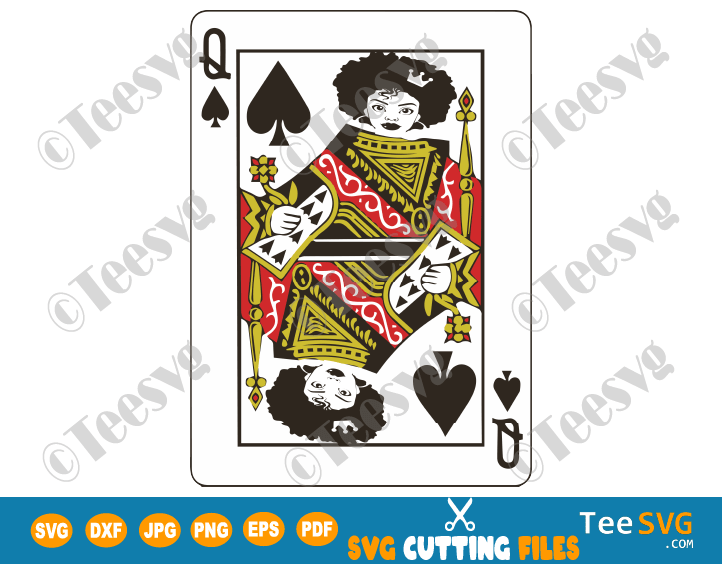 Afro Queen of Spades SVG Black Queen of Spade Card Game PNG Cut files for Girl & Woman