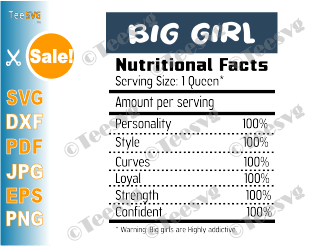 Big Girl Nutritional Facts SVG PNG Nutrition Facts Shirt Funny Fat Girl Design for Cricut Silhouette Cut Files Vinyl Clip Art Download