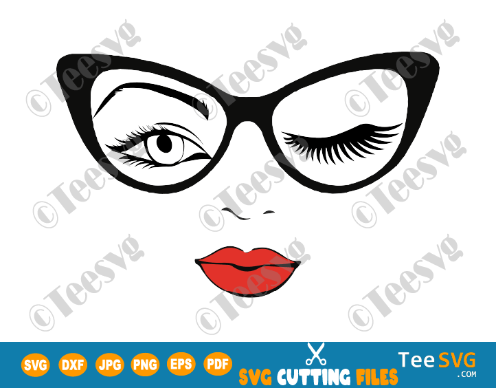 Woman face SVG Winking Girl in Glasses Girl Face Cut file Cricut Eyes Sunglasses Winking Eyelash Wink Lashes Eye PNG