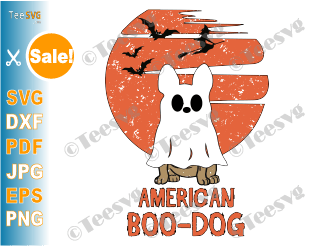 American Bulldog SVG PNG Halloween American Boo Dog SVG Funny USA Bulldog SVG Puppy Boo-dog Ghost Shirt Costumes Design