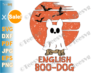 English Boo Dog SVG PNG Funny English Bulldog Halloween SVG Puppy Boo-dog Ghost Shirt Costumes Design.