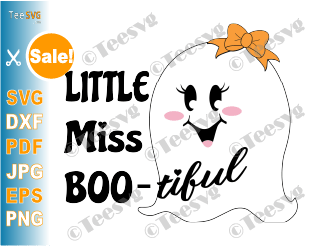 Bootiful SVG Boo Tiful Little Miss Bootiful Cute Girl Ghost Face with Bow Kid Baby Girl Halloween Shirt for Kids