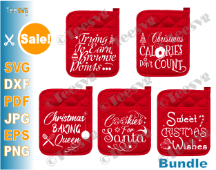 Christmas Pot Holder SVG Bundle Sayings DIY Cricut Christmas Pot Holders SVG Baking SVG Oven Mitt SVG Potholders Patterns Potholder Christmas Kitchen SVG Bundles Crafts