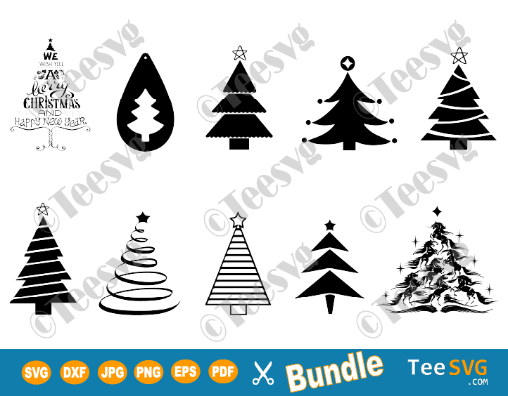 Christmas Tree SVG Cut File Cricut Clip art Bundle Merry Christmas Trees SVG Vinyl Xmas tree Outline Images Download black and white silhouette ornaments SVGs