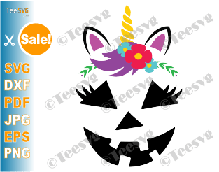 Girl Jack o Lantern SVG PNG Unicorn Girl Pumpkin Face SVG Cute Flowers Halloween Cutting File Clipart Drawing shirt gift