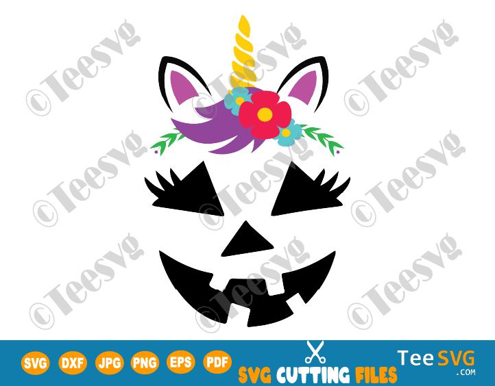 Girl Jack o Lantern SVG PNG Unicorn Girl Pumpkin Face SVG Cute Flowers Halloween Cutting File Clipart Drawing shirt gift