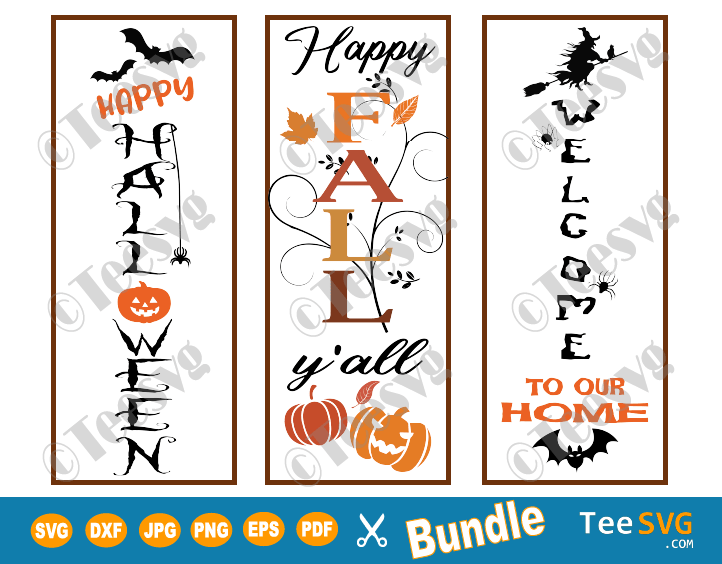 Happy Halloween Porch Sign SVG Bundle Fall yall Pumpkin Witches PNG Vertical Door Sign cut files signs Images clipart