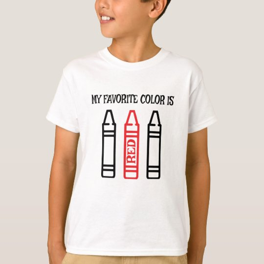 My Favorite Color is Red Kids Crayon Shirt