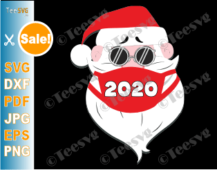 Santa In Sunglasses Wearing Mask SVG PNG Funny Quarantine Christmas SVG Santa With Face Mask Xmas 2020 Santa Claus Shirt Gift