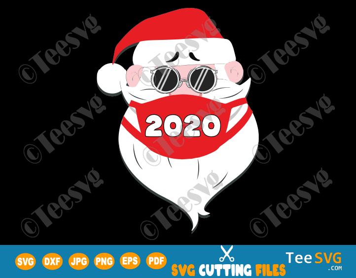 Santa In Sunglasses Wearing Mask SVG PNG Funny Quarantine Christmas SVG Santa With Face Mask Xmas 2020 Santa Claus Shirt Gift