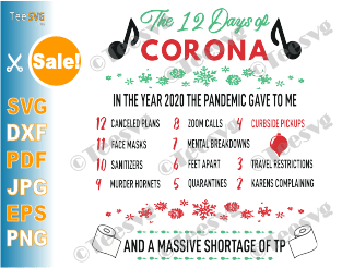12 Days of Corona SVG PNG Funny Christmas Pandemic Ornament 2020 SVG Covid Quarantine TP Shortage Shirt Digital Download for Ornaments and Cards