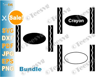 Crayon SVG File Bundle Crayons SVG Crayon Clipart PNG PDF Crayon SVG Shirt Word Crayon Box Black and white for Cricut Silhouette Split Monogram Teacher Design