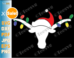 Longhorn SVG File White Longhorn with Christmas Lights and Santa hat PNG Horn Christmas Antlers SVG Bull Longhorns Clipart Horns vinyl decals