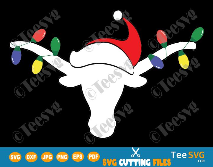 Longhorn SVG File White Longhorn with Christmas Lights and Santa hat PNG Horn Christmas Antlers SVG Bull Longhorns Clipart Horns vinyl decals