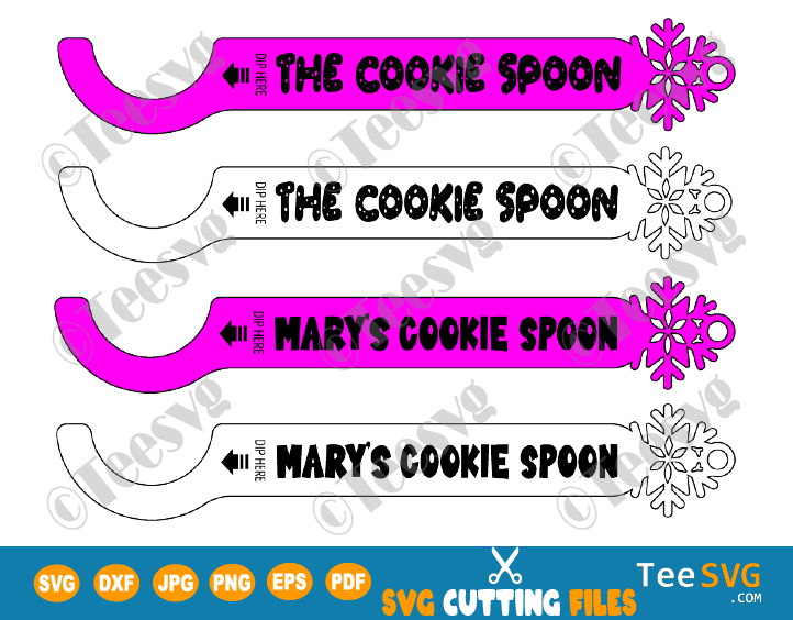 Cookie Spoon SVG File Personalized Cookie Dipper Spoon SVG PDF DXF Custom Kitchen Dunker Spoons Dipr cookies Christmas SVG Glowforge Ornament Crafts
