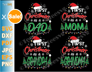 First Christmas Family SVG Shirts Bundle - 1st Christmas Matching Family Dad Mom Grandpa Grandma Ornament SVG Files