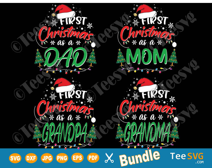 First Christmas Family SVG Shirts Bundle - 1st Christmas Matching Family Dad Mom Grandpa Grandma Ornament SVG Files