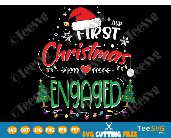 Our First Christmas Engaged SVG Ornament - 1st Christmas as a Couple - Husband & Wife Married Crafts - Mr and Mrs Together PNG - Matching Couple 2020 2021 - Girlfriend & Boyfriend Shirt