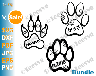 Pet Ornament SVG Bundle Christmas Dog Cat Name Monogram Puppy Kitten Paw Print Ornament SVG Clipart with snowflake DIY Custom Personalized Laser DXF for Ornaments