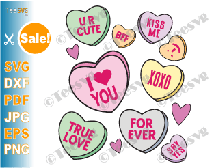Candy Hearts SVG Valentine Lovers Conversation Hearts SVG Bundle Cute Kids Valentines Day Candy Heart PNG Clipart Aesthetic Background Full Cup Wrap SVG Vector Cricut Tumbler Gift