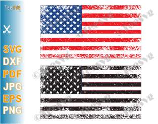 Free American Flag SVG Cut File Distressed Vertical Vector Clip Art USA US Stars Flag For Cricut Colored Black and white America United States Flags PNG Printable