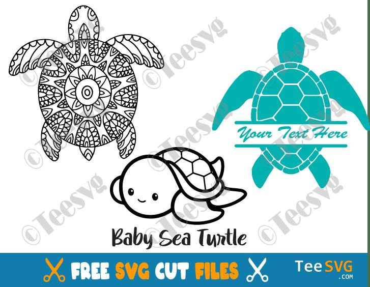 Sea Turtle SVG Free Bundle Monogram Mandala Cut files Cute Baby Sea Turtle Images Free Download For Tumbler Shirt Cricut Cut Files Vector
