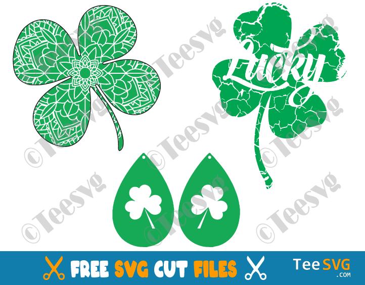 Shamrock SVG Free Bundle Images Mandala Earring Celtic Lucky Distressed Shamrock SVG File For Laser Cut Saint Patrick's Day