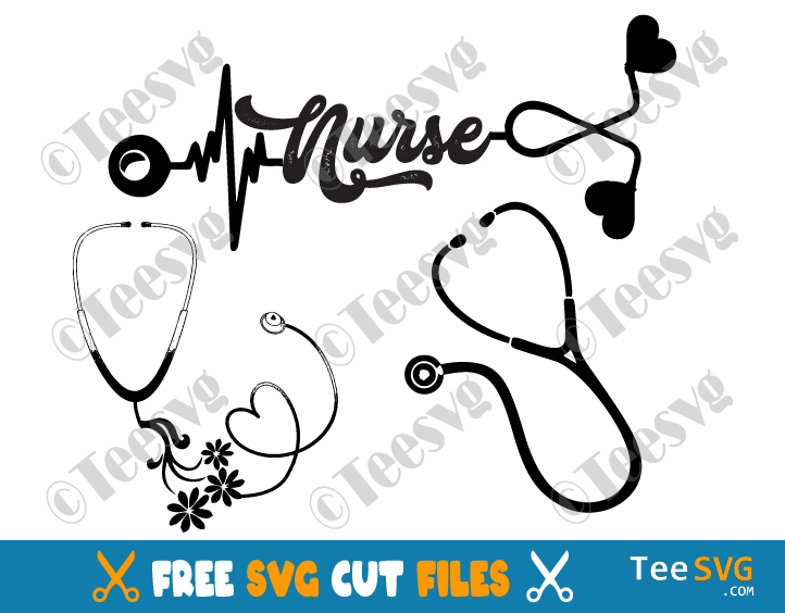 Stethoscope SVG Free Bundle Nurse Heart Floral Heartbeat Flower Tshirt Cricut Cut file Vector with name