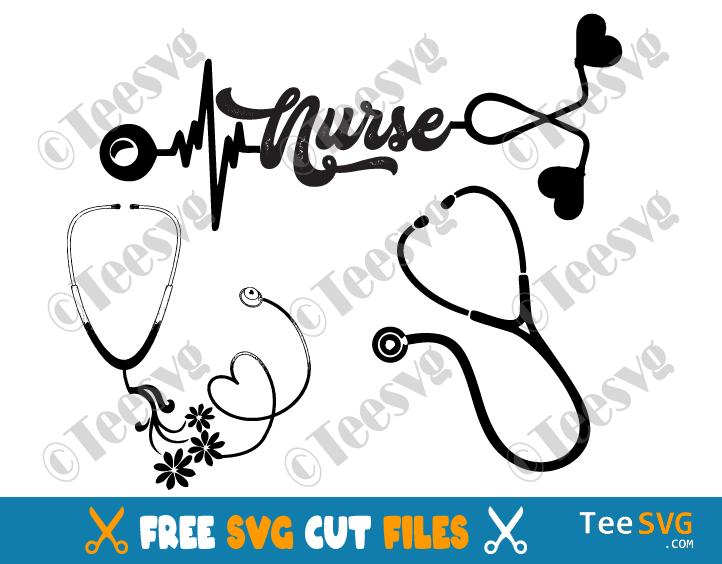 Stethoscope SVG Free Bundle Nurse Heart Floral Heartbeat Flower Tshirt Cricut Cut file Vector with name