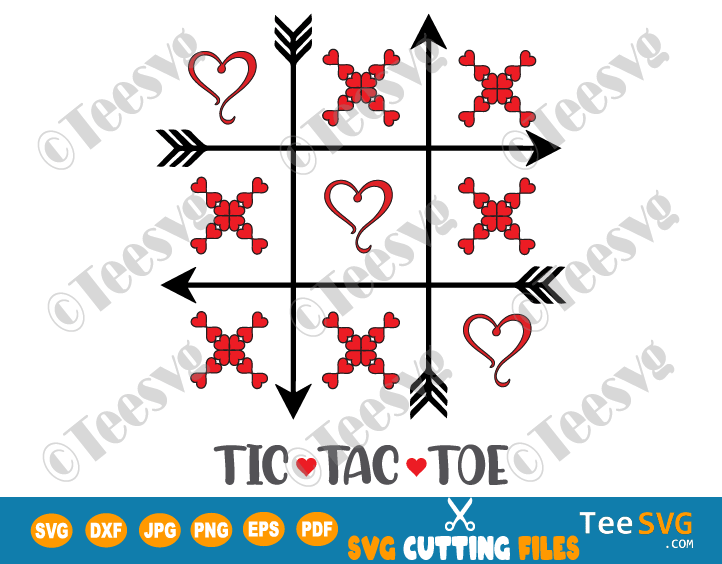 TIC TAC TOE Valentine SVG Cutting File Bags DIY Valentines Day Party Favors Heart TIC TAC TOE SVG Printable Template for Cricut