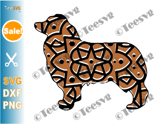 Australian Shepherd Mandala SVG, Aussie Dog SVG File, Dog Mandala, Puppy Vector, Dog Breeds SVG Files for Cricut