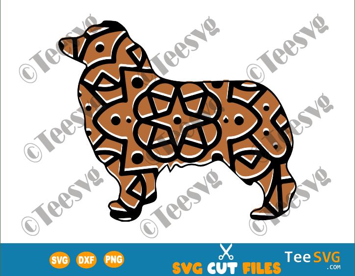 Australian Shepherd Mandala SVG, Aussie Dog SVG File, Dog Mandala, Puppy Vector, Dog Breeds SVG Files for Cricut