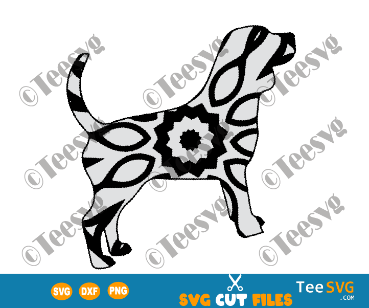 Beagle Mandala SVG, Beagle dog SVG File for Cricut, Dog Mandala SVG, Puppy Vector drawing illustration, Dog Breeds SVG Files