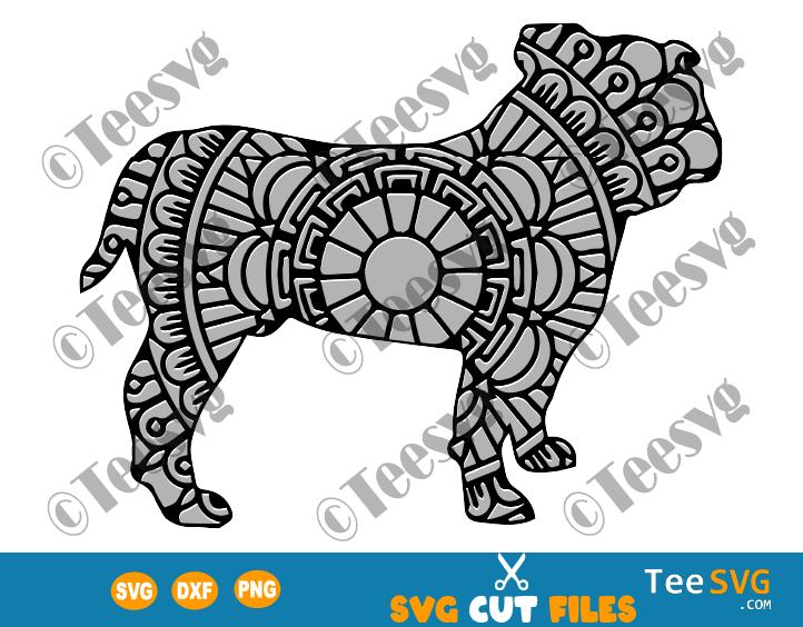 Bulldog Mandala SVG Files, Bulldog SVG Cut File Vector, Dog Mandala SVG, Puppy Cricut Image, Dog Breeds SVG Files for Cricut