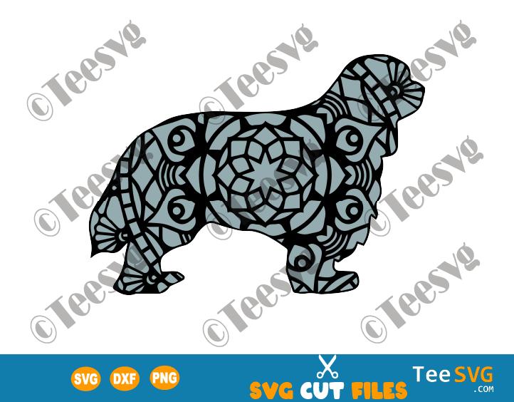 Cavalier King Charles Spaniel SVG Mandala, CKCS SVG File, Cavapoo, Cavoodle, Cavachon Dog Mandala SVG, Puppy Vector, Dog Breeds SVG Files for Cricut